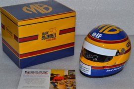 Mark Blundell Ligier Ford helmet 1993 season signed