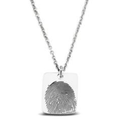 414 S zilveren rechthoekige hanger vingerafdruk