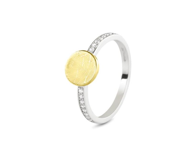 459 SY zilveren ring met gouden vingerafdruk (14 karaat)