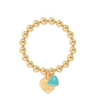 Ring goud Turquoise hart