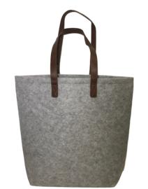 Vilten schoudertas met lederlook hengsels (naam/logo)