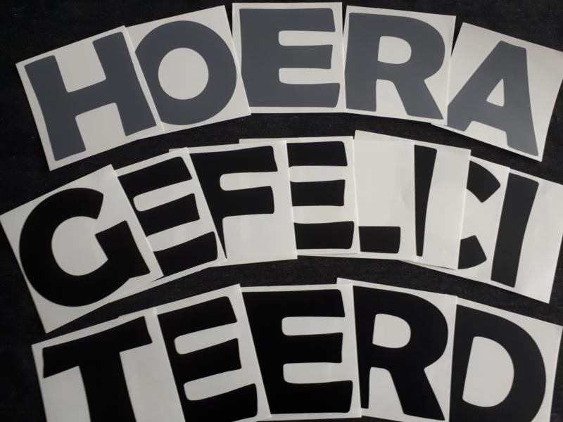 'HOERA' / 'GEFELICITEERD'-stickers