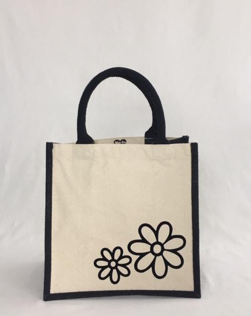 Jute/canvas tas met bloemen