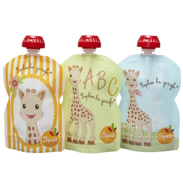 10x 3-pack Squiz herbruikbare knijpzakjes - 90 ml - Sofie de Giraf