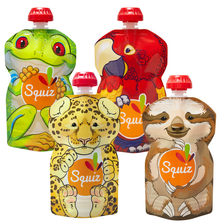 10x 4-pack Squiz herbruikbare knijpzakjes - 130 ml - Amazone