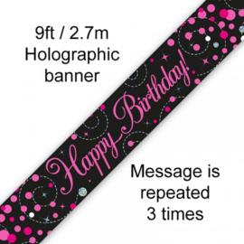 Banner 2.7m - Sparkling Fizz Birthday - Black & Pink