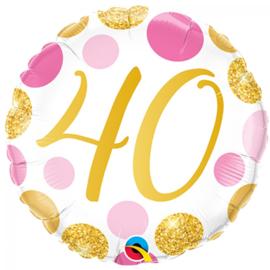 Folie Ballon Pink & Gold Dots - 40 (leeg)