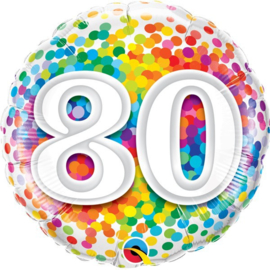 Folie ballon Rainbow Confetti - 80 (leeg)