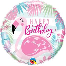 Folie ballon Birthday Pink Flamingo (leeg)