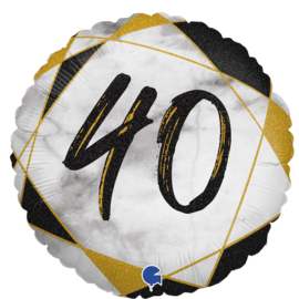 Folie Ballon Cijfer 40 Marble (leeg)