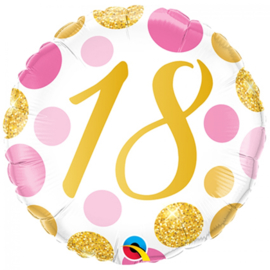 Folie Ballon Pink & Gold Dots - 18 (leeg)