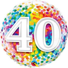Folie ballon Rainbow Confetti - 40 (leeg)