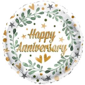 Folie Ballon Happy Anniversary Leaves (leeg)