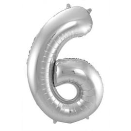 Zilver Cijfer 6 (leeg)