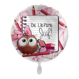 Folie Ballon De liefste Juf (leeg)