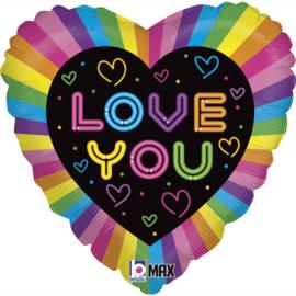 Folie Ballon Love You Neon (leeg)