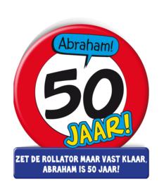 Wenskaart 50 jr Verkeersbord Abraham
