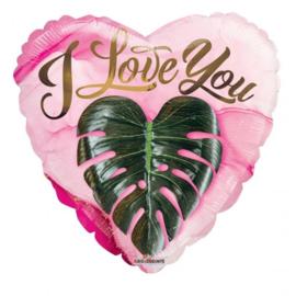 Folie Ballon I Love Heart Leaf (leeg)
