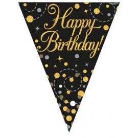 Sparkling Fizz Birthday - Black & Gold Vlaggenlijn