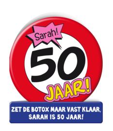 Wenskaart 50 jr Verkeersbord Sarah