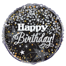 Folie ballon Glitter Happy Birthday (leeg)