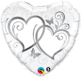 Folie ballon Entwined Hearts Silver (leeg)