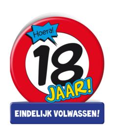 Wenskaart 18 jr verkeersbord
