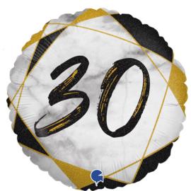 Folie Ballon Cijfer 30 Marble (leeg)