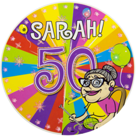 50 Jaar Sarah Knalfeest LED Party Button