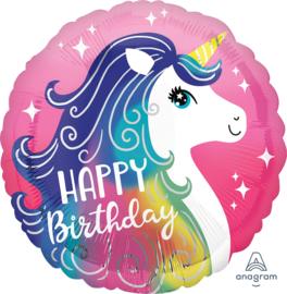 Folie Ballon Happy Birthday Unicorn (leeg)