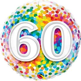 Folie Ballon Rainbow Confetti - 60 (leeg)