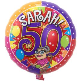 Folie ballon Sarah 50 jaar (leeg)