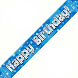 Banner 2.7m - Happy Birthday - Blue Holographic