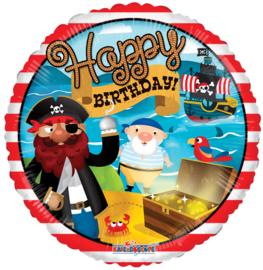 Folie Ballon Happy B-day Piraat (leeg)