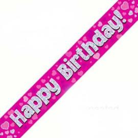 Banner 2.7m - Happy Birthday - Pink Holographic