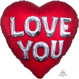 Folie Ballon Love You Satin (leeg)