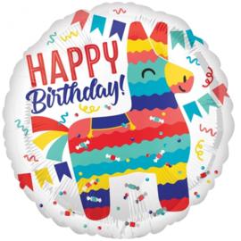 Folie ballon Happy Birthday Lama (leeg)