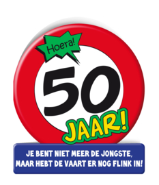 Wenskaart 50 jr Verkeersbord