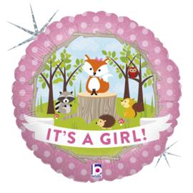 Folie Ballon Woodland Baby Girl (leeg)