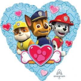 Folie ballon Paw Patrol Heart Love Boy (leeg)
