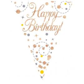 Sparkling Fizz Birthday - White & Rose Gold Vlaggenlijn