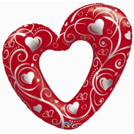 Folie ballon Hearts & Filigree Red  (leeg)