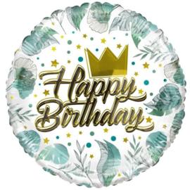 Folie Ballon Birthday Crown & Leaves (leeg)