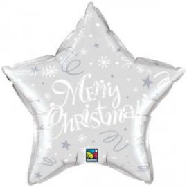 Folie Ballon Merry Christmas Star Silver (leeg)