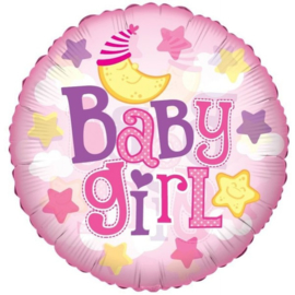 Folie ballon Baby Girl Moon (leeg)