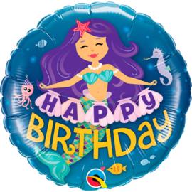 Folie ballon Zeemeermin Happy Birthday (leeg)
