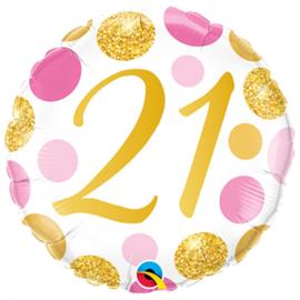 Folie Ballon Pink & Gold Dots - 21 (leeg)