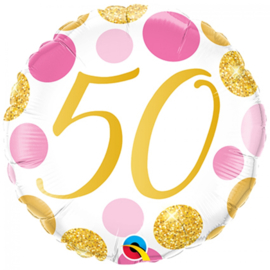 Folie Ballon Pink & Gold Dots - 50 (leeg)