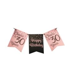 Vlaggenlijn 30 Roze - Zwart