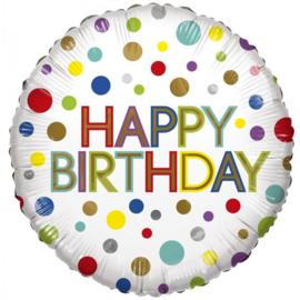 Folie Ballon Happy Birthday Dots Eco (leeg)
